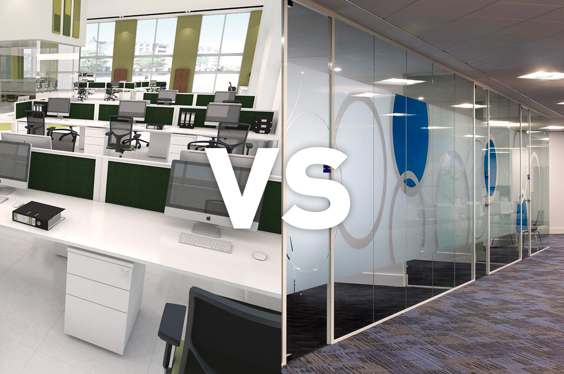 Open plan vs enclosed office space procol for Office space planning
