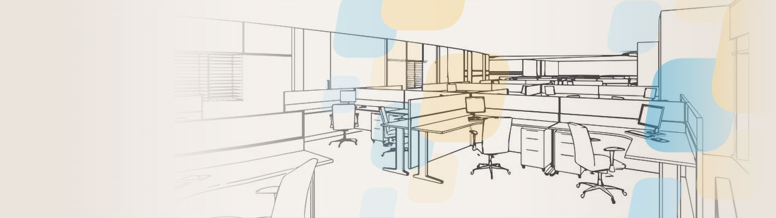 Wireframe of an office design