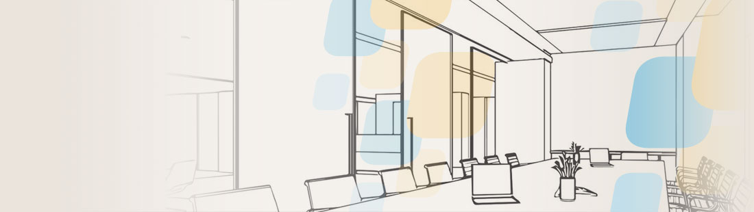 Wireframe of boardroom and office partitions