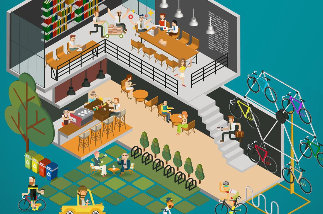 Illustration of a cool office design