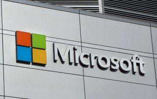 Microsoft logo on an office building