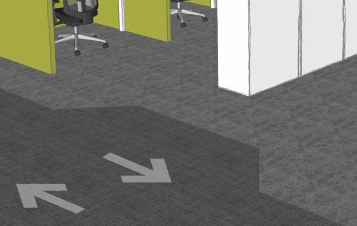 Floor markings for Covid-safe circulation around the office