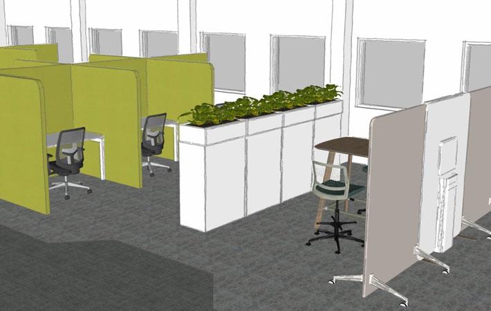 Covid-safe desk layout